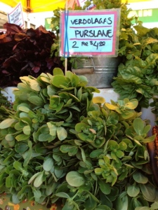 Purslane is a succulent green that is high in omega-3 fatty acids. Juicy, tangy, and good for you!