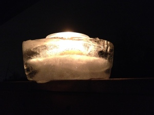 We made lanterns out of ice, lit with a candle, to celebrate our new farming year. Happy New Year!