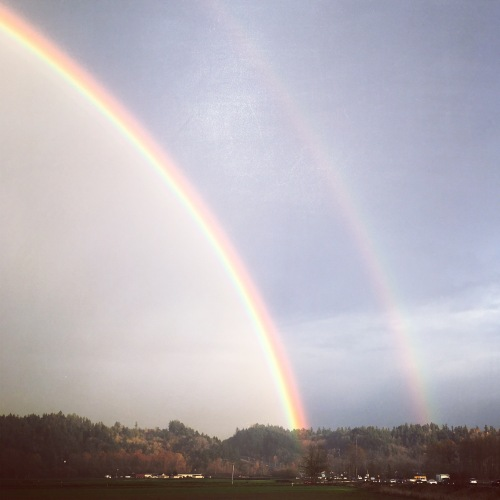 A perfect double rainbow over our valley. In November.