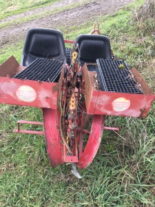 One-Row 3-point transplanter by Mechanical Transplanter Co. Bare root or plugs. We set it up to do a row each direction in one tractor width. $1,000